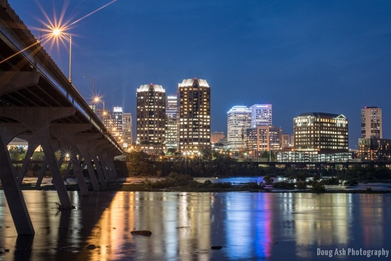Richmond cityscape from the Flood Wall after sunset