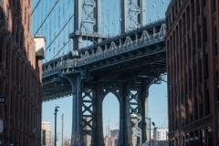 Iconic view of Manhattan Bridge from DUMBO