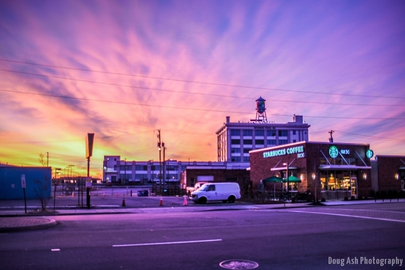Sunrise colors over Cookie Factory Lofts