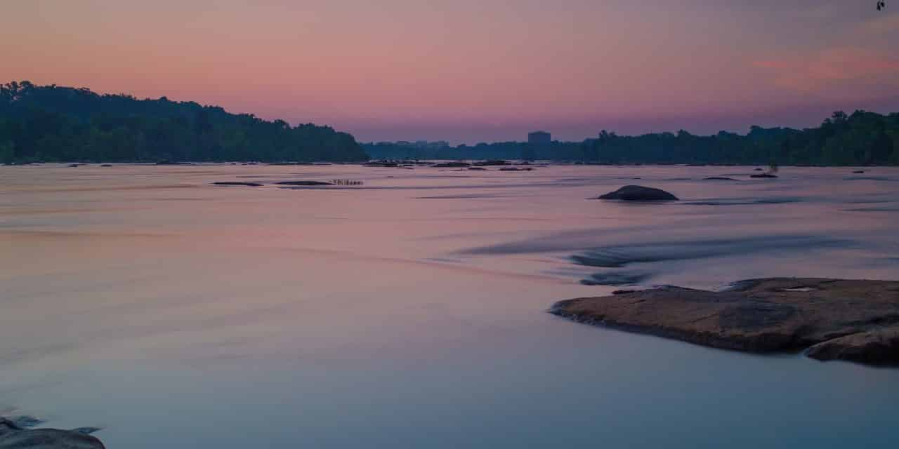 Long exposure of a James River Sunrise in Richmond VA.
