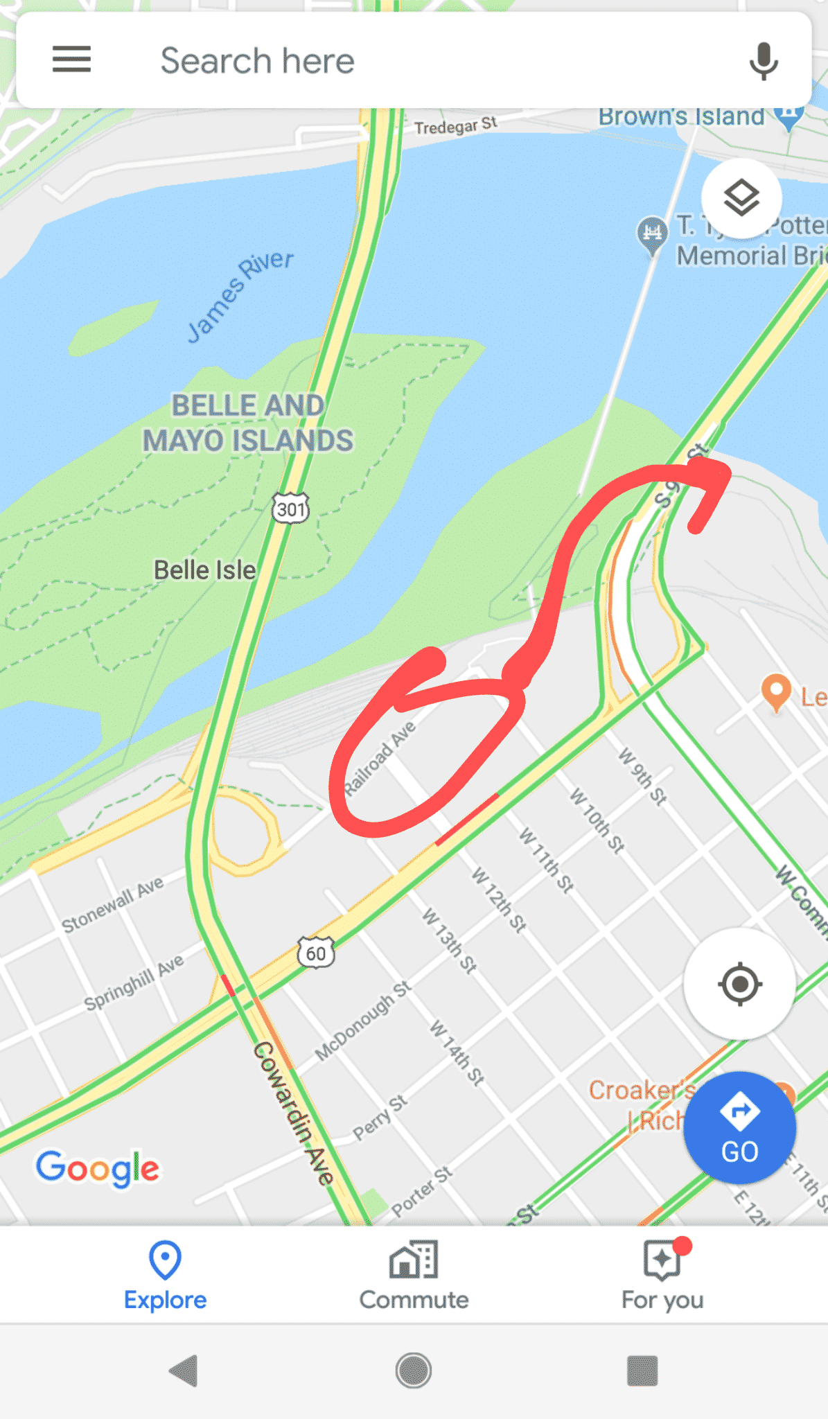 Directions to Flood Wall in RVA