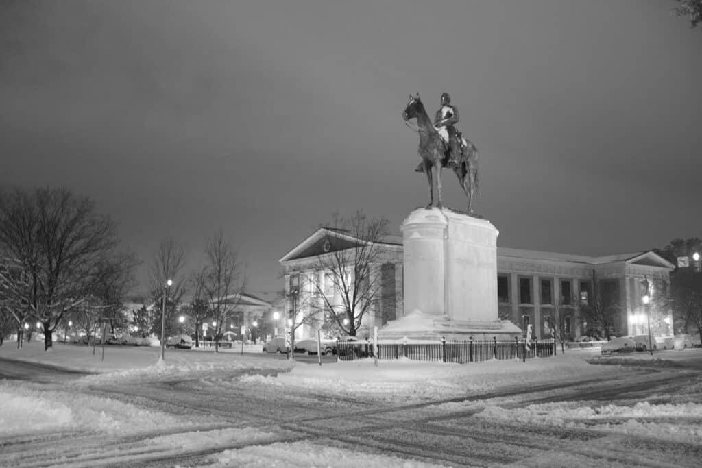 Snowy Stonewall Jackson Monument in Richmond VA