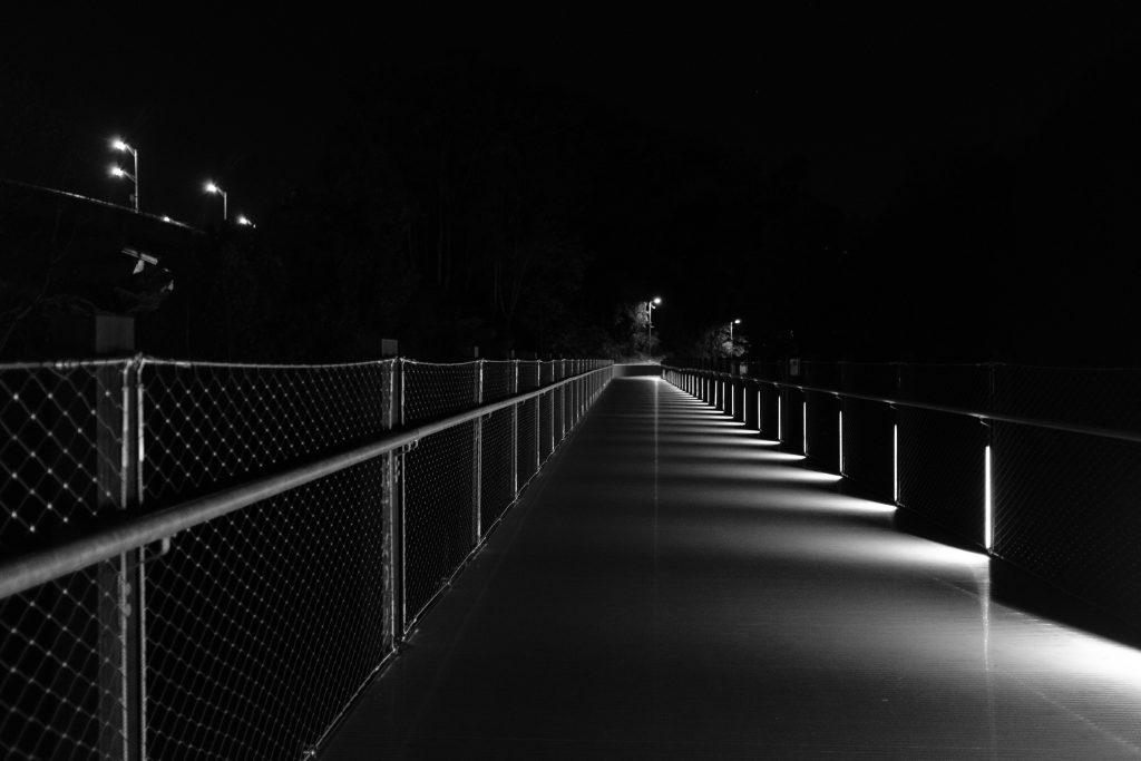 tyler Potterfield Memorial Bridge of Richmond VA in black and white