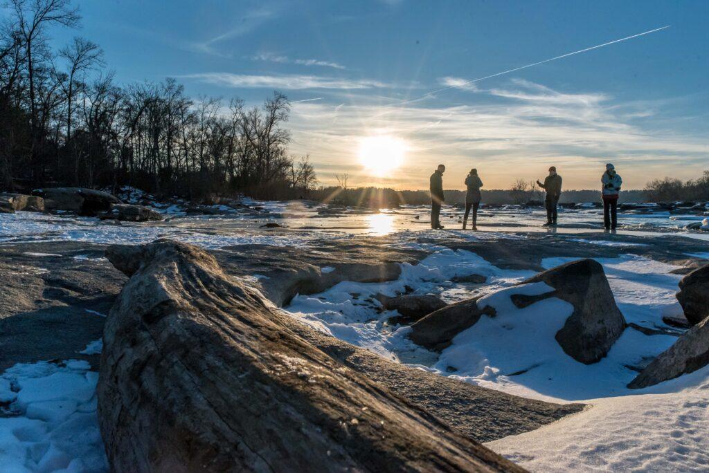 Locals enjoying the frozen James River.