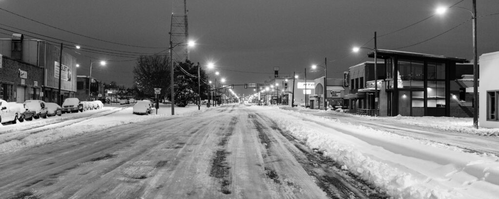 broad street covered in snow