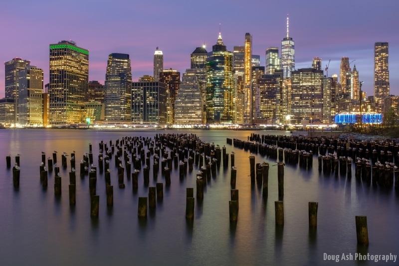 New York City Skyline view from Brooklyn Bridge Park